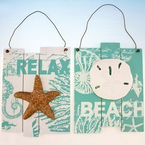 Set of 2 Assorted Beach Plaque - Starfish & Sand Dollar