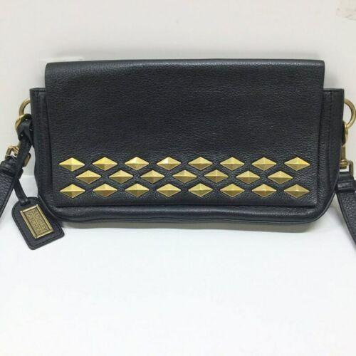 Badgley Mischka Black Leather Gold Stud Crossbody Shoulder Bag Purse