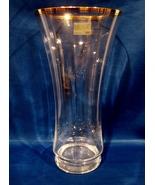 """Mikasa Crystal """"Jamestown """" 10 Inch Tall Gold Banded Vase ca. 1980 - $33.00"""