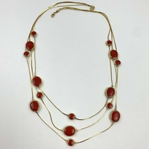 Vintage Avon SP Liquid Multi Strand Gold Tone Red Enamel Chain Drape Nec... - $13.33