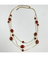Vintage Avon SP Liquid Multi Strand Gold Tone Red Enamel Chain Drape Nec... - $13.33