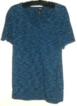 WOMEN'S BLUE V NECK PRINTED TOP SIZE M - $8.00