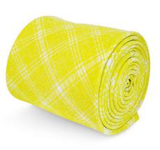 Frederick Thomas gelb und weiß kariertes Muster Krawatte in 100% Baumwolle - $24.38