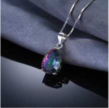 JewelryPalace 4ct Genuine Multicolor Rainbow Fire Mystic Topaz Pendant Pear Real image 4