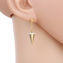 UE- Dangling Gold Tone Designer Post Earrings With Swarovski Style Crystals - $15.99