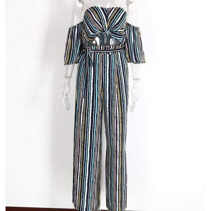 Cute Multicolor Striped Women Two Piece Set Jumpsuit