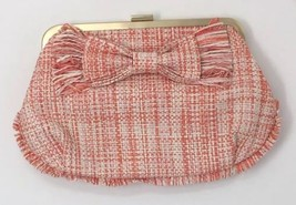 J Crew Straw Orange Clutch with Bow and Fringe Accent NWOT - $82.98