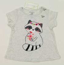 First Impressions New Infant Girls Raccoon Print Grey T Shirt Tee 12M - $8.90