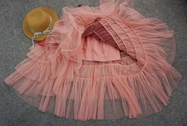 Tiered Long Tulle Skirt Red Pink High Waisted Layered Tulle Skirt Party Outfit image 6
