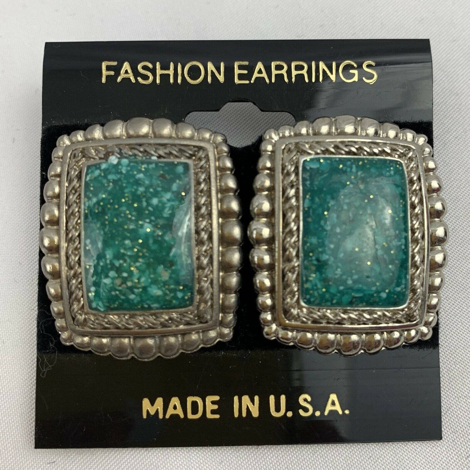 Primary image for Vintage Plastic Shimmery Faux Turquoise Earrings Square Silver Tone NOS 80s 90s