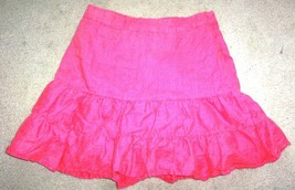 Sz 6 - Gap 100% Linen Pink Ruffled Skirt - $9.49