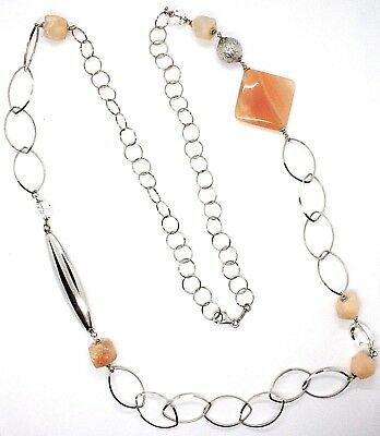 Silver 925 Necklace, Jade, Brown Length 105 cm Chain, Oval & Rolo