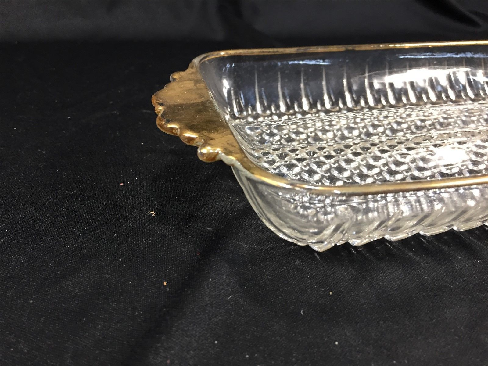 """Vintage Clear Glass Divided Relish Tray with Gold Trim Rectangle Bubble Base 10"""""""