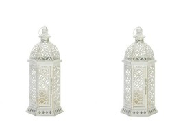 "2 White Hexagon Shape Candle Lanterns w/ Intricate Cutouts 15.5"" High - $42.52"