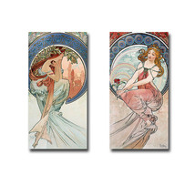 Poetry & Painting by Mucha 2-pc Gallery Wrapped Canvas Giclee Set, (24 x... - $145.12