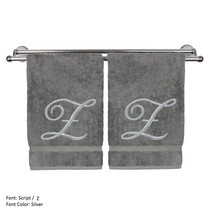 Monogrammed Washcloth Towel,13x13 Inches - Set of 2 - Silver Script - Z - $27.44