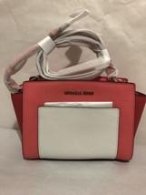 $248 Michael Kors Pocket Selma Medium Blue / White Leather Messenger Pur... - $176.72