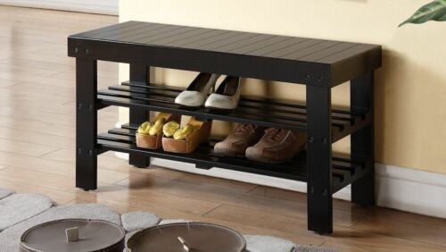 NEW Black Wooden Shoe Bench Solid Wood Organizer Storage Rack Entryway Shelves