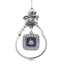 Inspired Silver Utah Flag Classic Snowman Holiday Decoration Christmas Tree Orna - €13,13 EUR