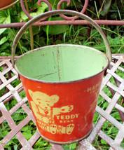 ANTIQUE RIDLEYS CHILDS LITHO SAND PAIL TEDDY BEAR HAPPY FROG MYRTLE TURT... - $237.50