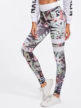 Floral Print Striped Skinny Leggings - $23.00