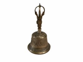 Vintage Antique Brass Ornate Hand Dinner Bell image 1