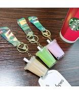 Cute Boba Bubble Milk Tea Liquid Laser Keychain Keyring Pendant Kawaii Food - $3.99