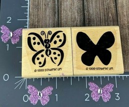 Stampin Up Rubber Stamp Pair Spotted Solid Butterfly 1999 Set of 2 #B157 - $1.49