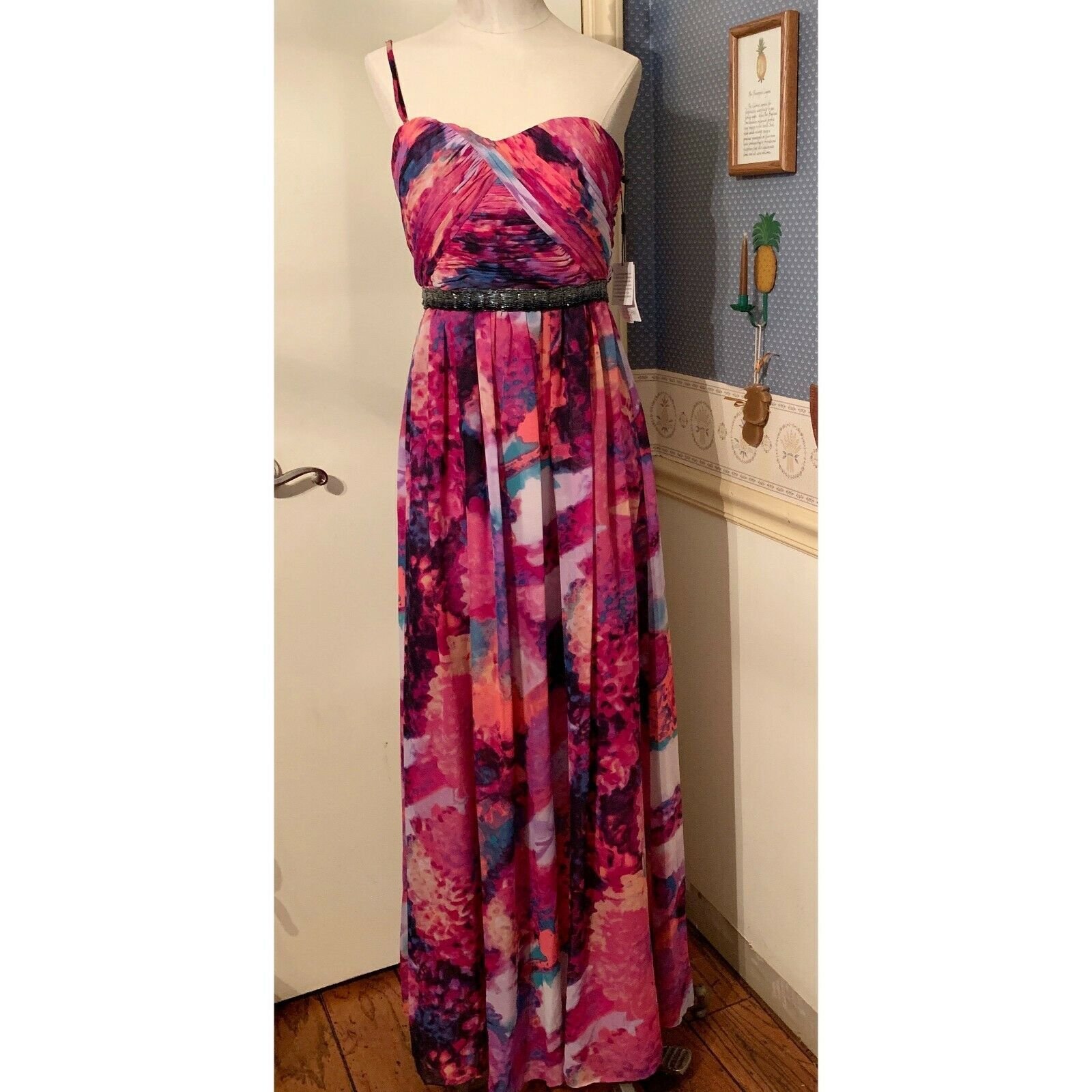 Primary image for Calvin Klein Size 4 Purple Multicolored Special Occasion Maxi Dress