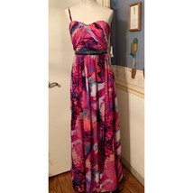 Calvin Klein Size 4 Purple Multicolored Special Occasion Maxi Dress - $81.68
