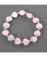 Heart Shape Morganite & Rose Gold Hematite Gemstone Beads Stretch Bracel... - $29.99