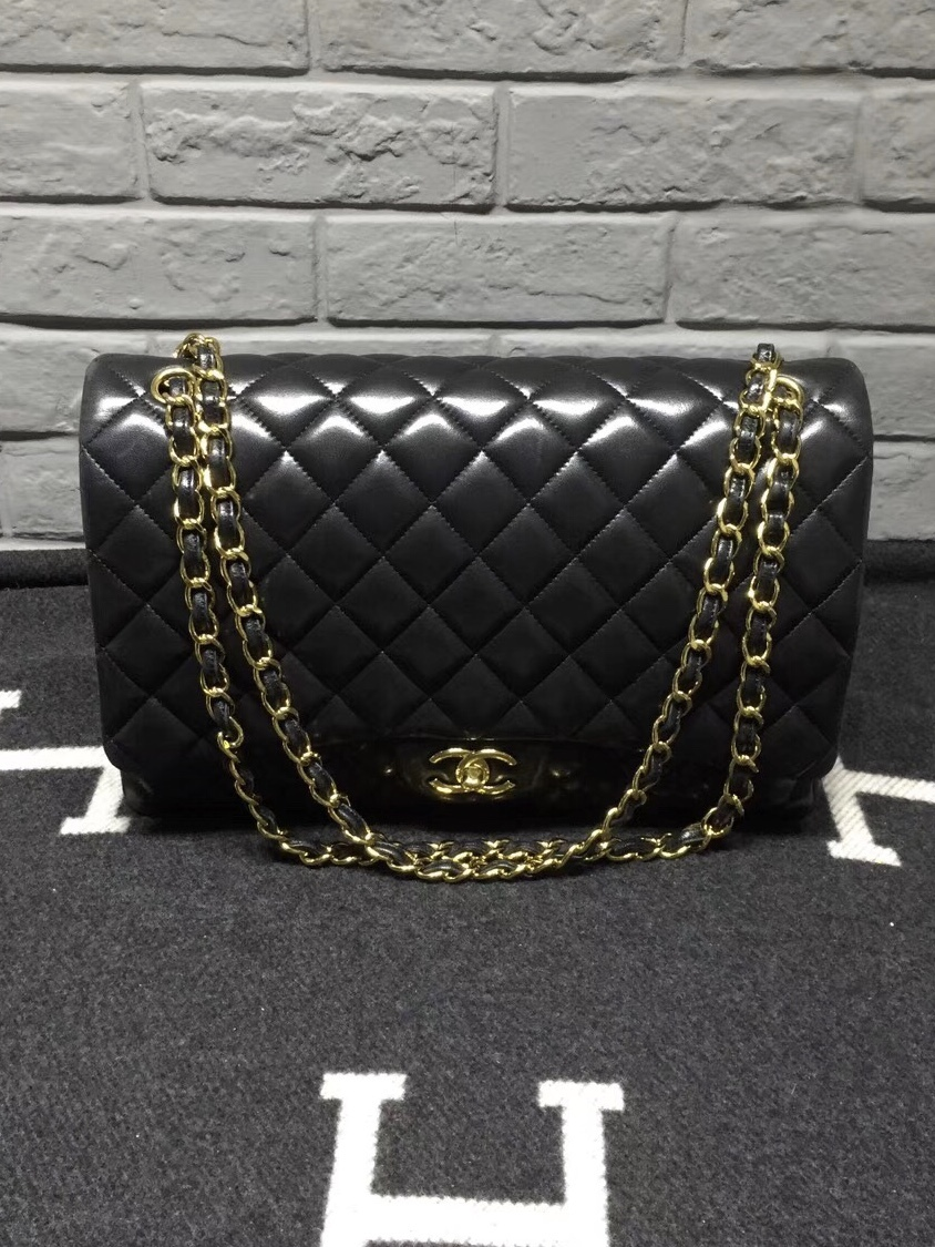 100% Authentic Chanel Black Quilted Lambskin Maxi Classic Double Flap Bag GHW