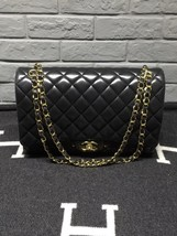 100% Authentic Chanel Black Quilted Lambskin Maxi Classic Double Flap Bag GHW image 1