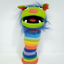 """The Puppet Company Sockettes Green Monster Rainbow Hand Puppet Knit 16"""" ... - $29.69"""