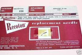 Recoton 358 PHONOGRAPH RECORD PLAYER NEEDLE STYLUS for Astatic C-1M Asta... - $5.65
