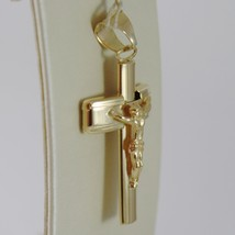 18K YELLOW JESUS GOLD CROSS SMOOTH STYLIZED FINELY WORKED CURVED MADE IN ITALY image 2