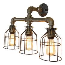 Industrial-Loft 3-Bulb Bathroom Vanity Light, Wire Cages E-26 Type Bulbs - $169.00