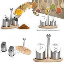 Household Stainless Steel Salt Pepper Shaker Set Odor-Free Spice With St... - $17.59