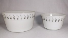 RARE 2 PC WHITE MILK GLASS MIXING BOWL SET BLACK/WHITE FLORAL-ART DECO-4... - $22.99