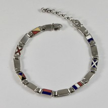 Bracelet men from 925 Silver Rhodium With Flags Nautical Charts Glazed Tiles 20 image 1