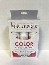 Kera Color KERA-CRAYONS 3 color+Clenditioners Red, Platinum & Rose Gold ... - $13.99