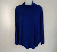 JM Collection Women's Long Sleeve Turtle Neck Solid Blue Top Size Small  - $27.84