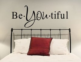 """(55"""" X 19"""") Vinyl Wall Decal Inspirational Quote Be*you*tiful / Text Word Beauti - $40.27"""