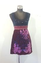 Free People Dreaming In Paradise Tank Mini Dress Size 6 Beaded Velvet Navy Purpl - $60.00