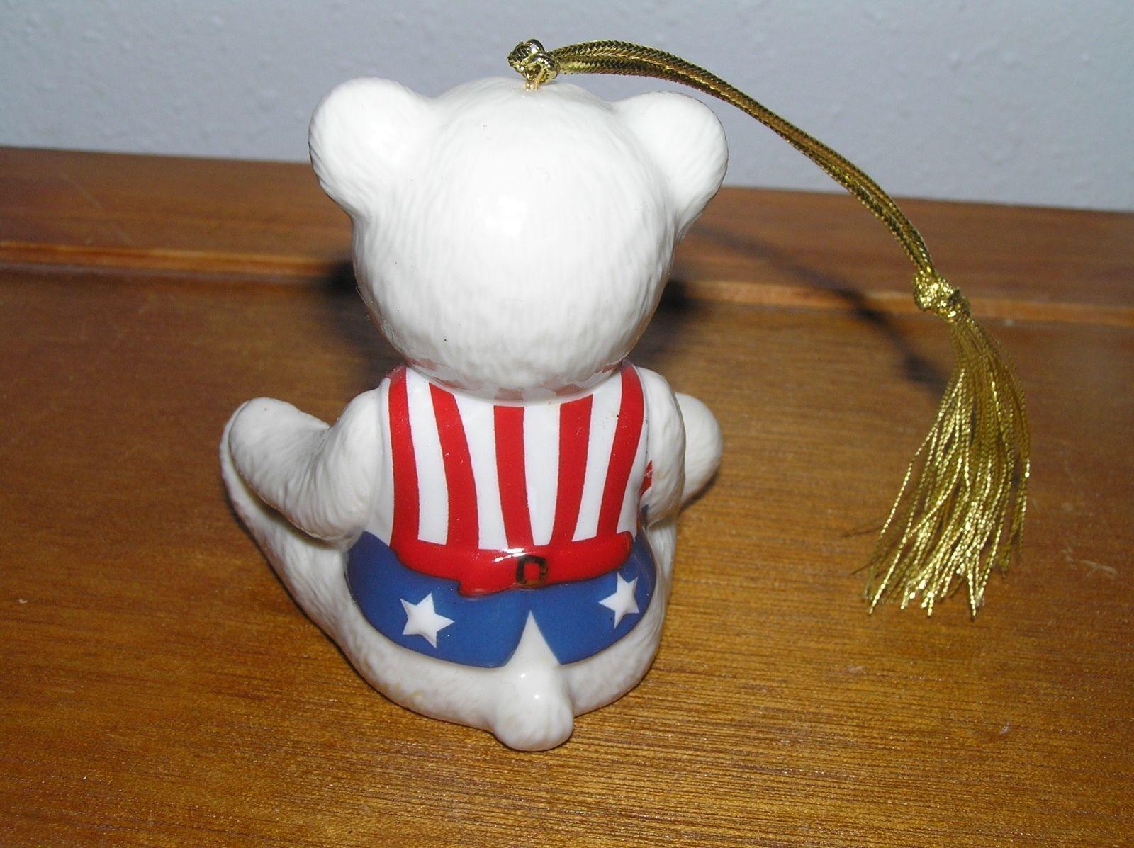 Lenox Teddy's 100th Anniversary White w Patriotic Vest Porcelain Bear Christmas