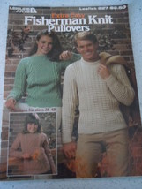 Vintage Leisure Arts fisherman Knit Pullovers Instruction Leaflet - $3.99