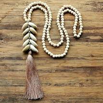 White Stone Bead Necklace Handmade Natural Shell Tassel Women Pendant Jewelry - $18.69