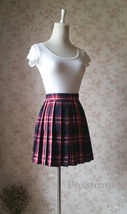 Red and Navy Plaid Skirt High Waisted Pleated Plaid Skirts Mini Plaid Skirt image 4