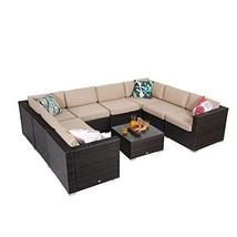 PHI VILLA 9-Piece Patio Furniture Set Rattan Wicker Outdoor Sectional So... - $1,255.83
