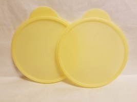 Lot 2 Tupperware Sheer #5454A YELLOW Round Flat Out Bowl Replacement Lid... - $12.86